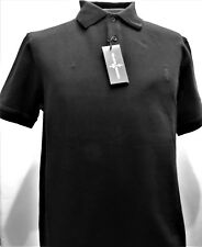 BLACK&BROWN (Lord&Taylor) Black Soft 100% Cottn Mesh Short Sleeve Polo Small #85