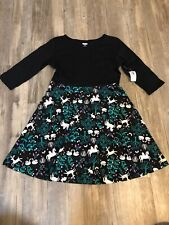 NWT Old Navy Girls Fit And Flare Jersey Dress Small 6-7 Unicorns Swans Deer