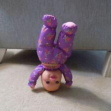"1996 90s Toy Biz 13"" Plush Plastic Head Baby Headstand Surprise Doll Purple   BK"