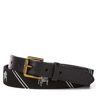 Men's SZ 38 POLO-RALPH LAUREN Black Leather Needlepoint BULLDOG Striped Belt