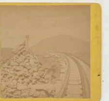 Looking down Cog Railway Tracks Lizzie Bourne  Mt Washington NH  Stereoview 1870