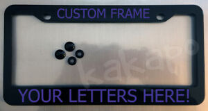Custom personalized black license plate frame + screw covers COLOR CHOICE Font11