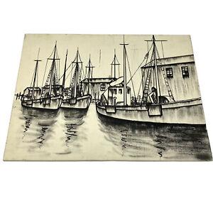Vtg Original Art Painting Unfinished Work Boats at Dock Canvas Board Black White