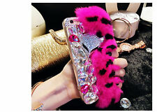 Unique Fluffy Fur Bling Diamonds Pearl jewelry Case Cover For Cell Mobile Phones