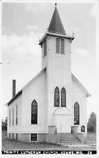Adams Wisconsin~Trinity Lutheran Church~Close Up~Stained Glass Windows~1950 RPPC