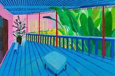 """David Hockney, Jardín Con Terraza Marcos de arte de Pared de tela azul 20""""x30"""""""