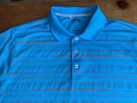Adidas Climacool Mens Large Blue Orange Striped Short Sleeve Golf Polo Shirt B41