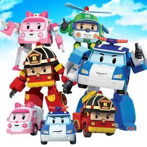 6 Robocar Poli Transformer Toy mini action figure models Car Heli Amber Truck