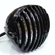 Black Motorcycle Finned Grill Headlight for Cafe Racer Bobber XS650 CB750 XL TRI