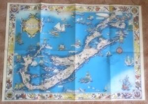 fl417f - Original 1930 Elizabeth Shurtleff Pictorial Map of Bermuda - w/envelope