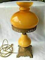 VV Vianne Made in France Butterscotch Cased Glass Lamp Vintage