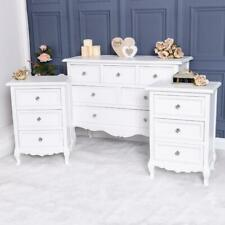 Pair Of Bedside Tables Chest of Drawers White Bedroom Furniture Set French Chic