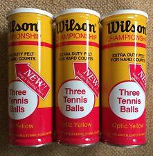 Vintage Nos Lot 3 Cans Sealed Wilson Championship Optic Yellow Tennis Balls Usa