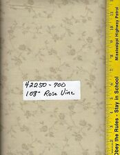 """42250-700, 108"""" EXTRA WIDE QUILT BACKING BTY: TONAL ROSE VINE TAN, NATURAL"""