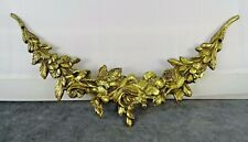 "9.25"" -Antique French Gilded Bronze Furniture Pediment Mount Hardware- Flowers"