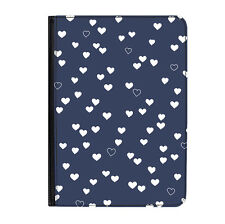 "Blue Hearts Pattern Love Navy Universal Tablet 7"" Leather Flip Case Cover"