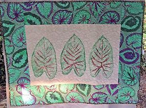 "Elephant Ears Art Quilt 38"" x 49"" Oil Paint of Fabric Leaf Wall Hanging Handmade"