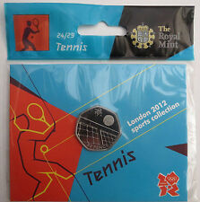 2012 50p OLYMPIC 24/29 TENNIS COIN HANGING BAG BRILLIANTLY UNCIRCULATED @