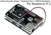 Clear Case Enclosure Box + Cooling Fan +3PCS Heatsink For Raspberry Pi 3 Model B