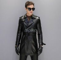Mens Leather Double Breasted Motorcycle Military Long Jacket Coat Lapel Collar