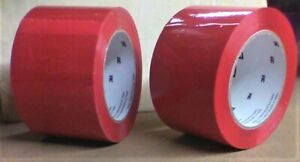 "2 ROLLS OF 3M Scotch RED Box Sealing Tape,,..3"" x 110 yards. CLOSEOUTS"