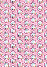 2 x Mum Wrapping Paper Birthday/ Mother's Day Pink Flowers Giftwrap (PA)