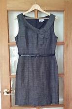 VERONIKA MAINE Linen Fine Check Shift Dress Size 14 Work Corporate