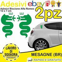KIT 2 Adesivi Biscione ALFA ROMEO sticker MITO 147 159 GIULIA STELVIO VERDE