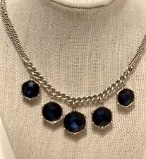"NWT Kenneth Cole Blue Stone Multi-Chain  18"" Silver-tone Necklace #011818A"
