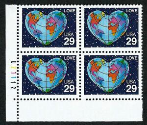 UNITED STATES, SCOTT # 2535, PLATE BLOCK OF HEART SHAPED GLOBE, LOVE, MNH