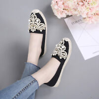 NEW Most Comfortable Elegant espadrilles/Flat Shoe  With Pearl And Flower Motif