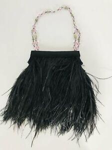 Fenn Wright Manson Women's Feather Clutch Bag   S UK8   Black