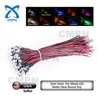 3 5 8 10mm Pre Wired DC 9-12V Warm White Red Blue RGB UV LED Diodes Mix Kits USA