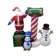 ALEKO Inflatable Christmas Yard Decor 6 ft Santa and Welcome Sign with Blower