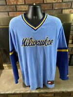 Nike Milwaukee Brewers MLB Baseball Jersey Mens Sz Large Cooperstown Collection