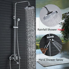 "8""Chrome Brass Rainfall Shower Faucet Tub Mixer Tap W/Hand Spray Wall Mounted"