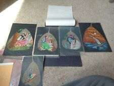 Lot of 5x Hand Painted Oil on Skeleton Pipal Leaves Original Peepul Leaves