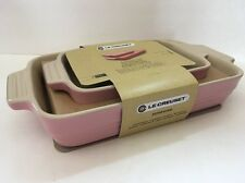 Pink Le Creuset Stoneware Bakeware Set~Rectangular Baking Dishes New