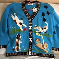 NWT Storybook Knits Dog Cat Animal Sweater Cardigan Sz 2Xs Blue Limited Edition