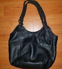 THE SAK Black Large Leather Shoulder Hobo Tote Satchel Slouch Purse Bag