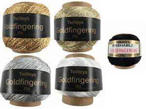 Twilleys Goldfingering 25g Metallic Crochet & Knitting Yarn 5 Colours