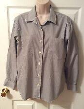 Talbots Size 6 Black White Stripe Long Sleeve Button Front Shirt Blouse Cotton