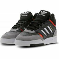 BOYS KIDS ADIDAS LACE UP HI TOP TRAINERS SHOES BOOTS DROP STEP BLACK GREY RED