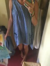 Light blue polkadot dress, lightweight loose fit with pockets and longer sides M
