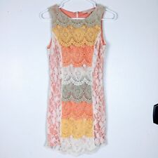 Champagne Strawberry Women Dress Small Lace Fitted Sleeveless Lace Embroider