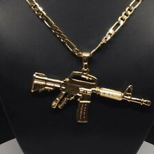 26 Pulgadas Cadena De Oro Laminado Con Cuerno De Chivo Machine Gun