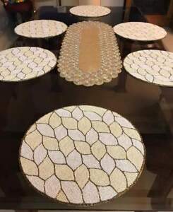Beaded Dining Table Set With 1 Runner And 6 Mats For Home And Table Decoration