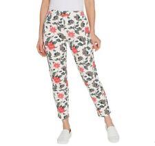 Denim & Co. French Terry Slim Leg Pants Size XL Womens Floral Print A347324