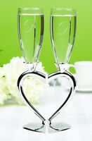 Silver Heart Shaped Stem Wedding Toasting Glasses Champagne Flutes