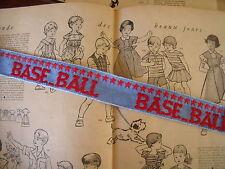 ANCIEN GALON BASE BALL BRODE SUR TOILE JEANS  vendu au mètre